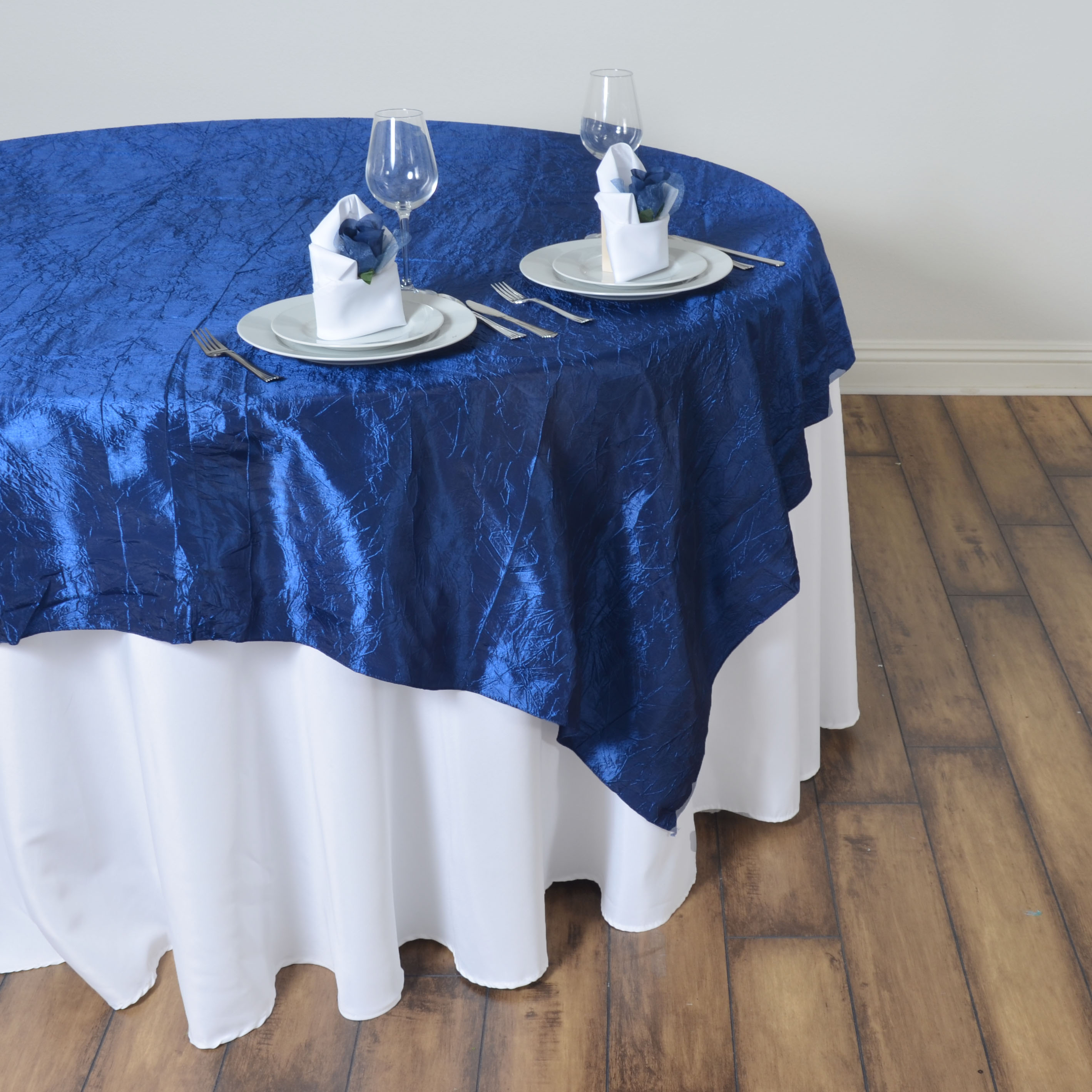 """60x60/"""" Crinkled Crushed Taffeta TABLE OVERLAY Wedding Party Banquet Catering"""