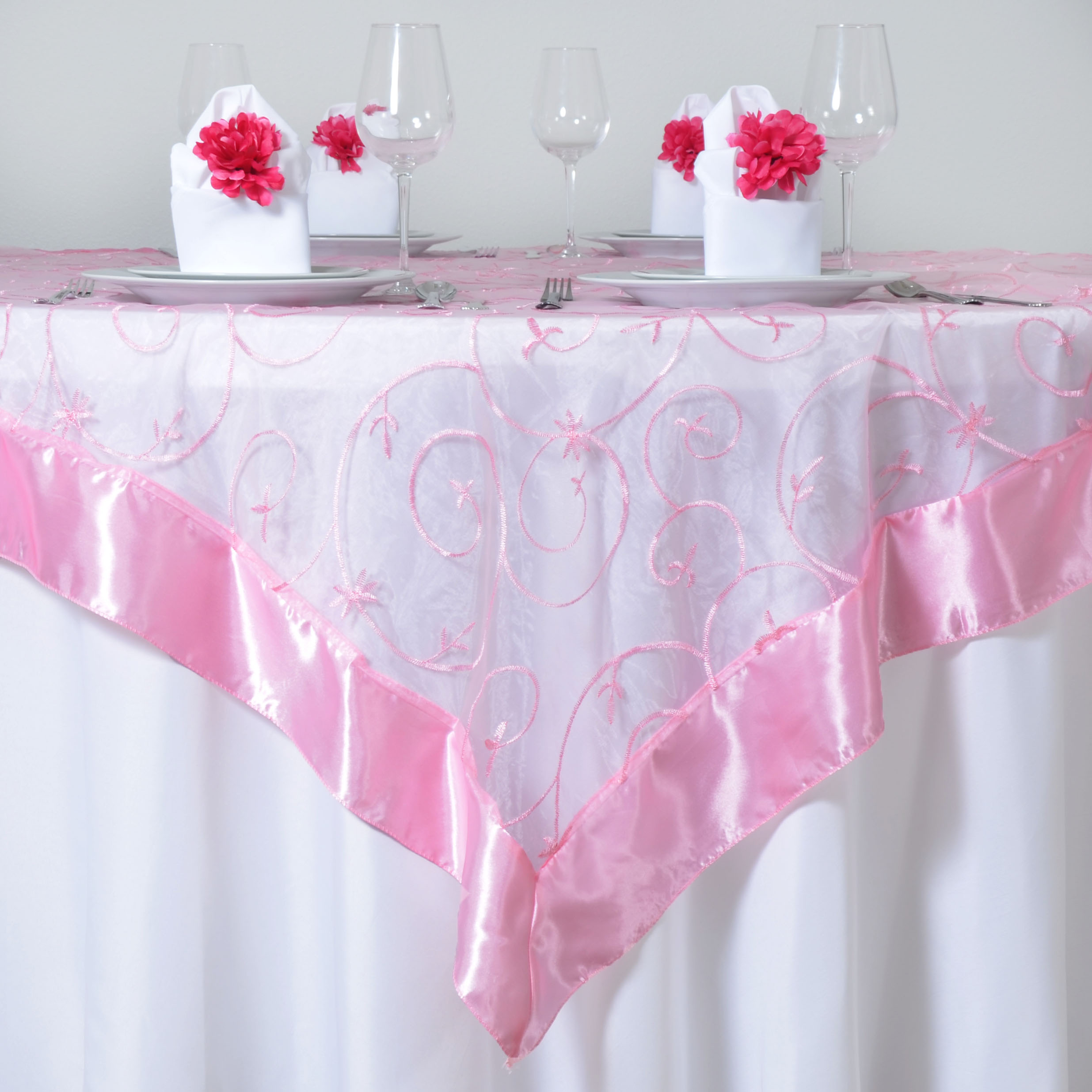 60x60 034 Embroidered Sheer Organza Table OVERLAY Unique