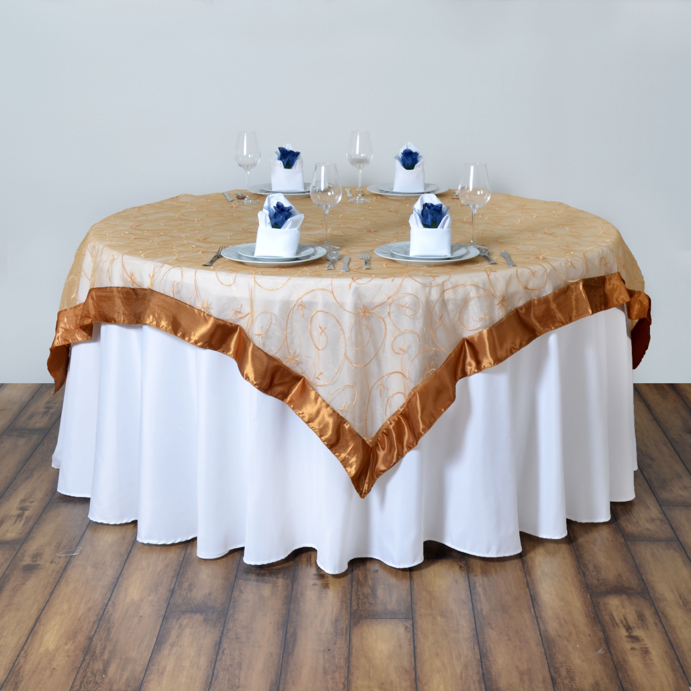 """60x60"""" Embroidered Sheer Organza Table OVERLAY Unique"""