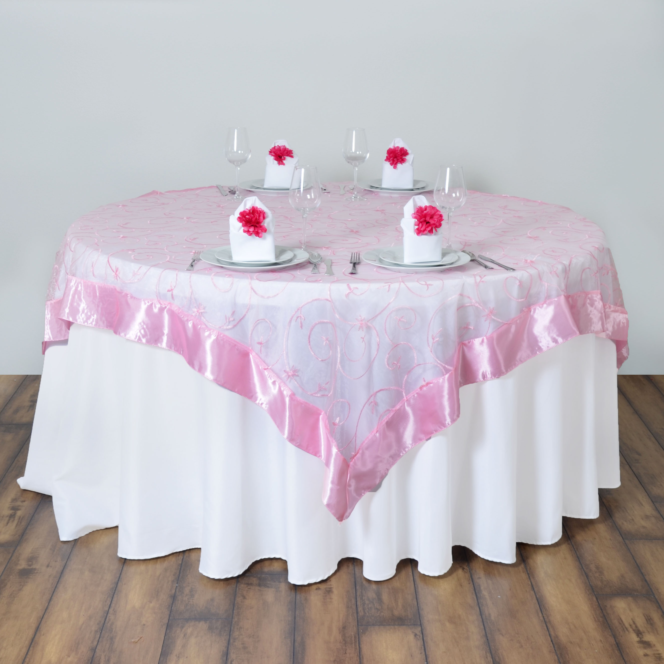 10 Pcs 85x85 034 Embroidered Sheer Organza Table