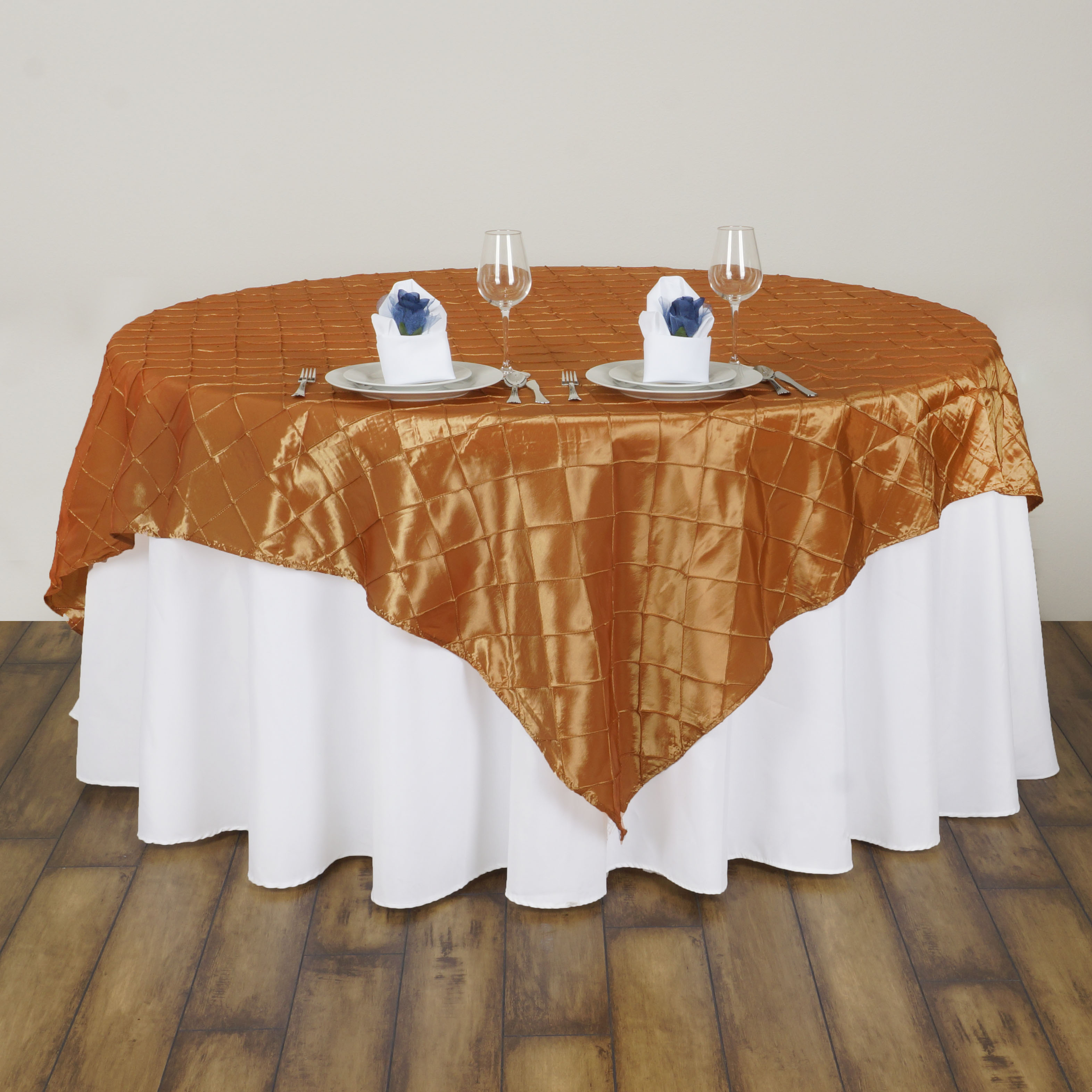 10 Pcs 72x72 Square Pintuck TABLE OVERLAY Wedding Linens Tablecloths Wh