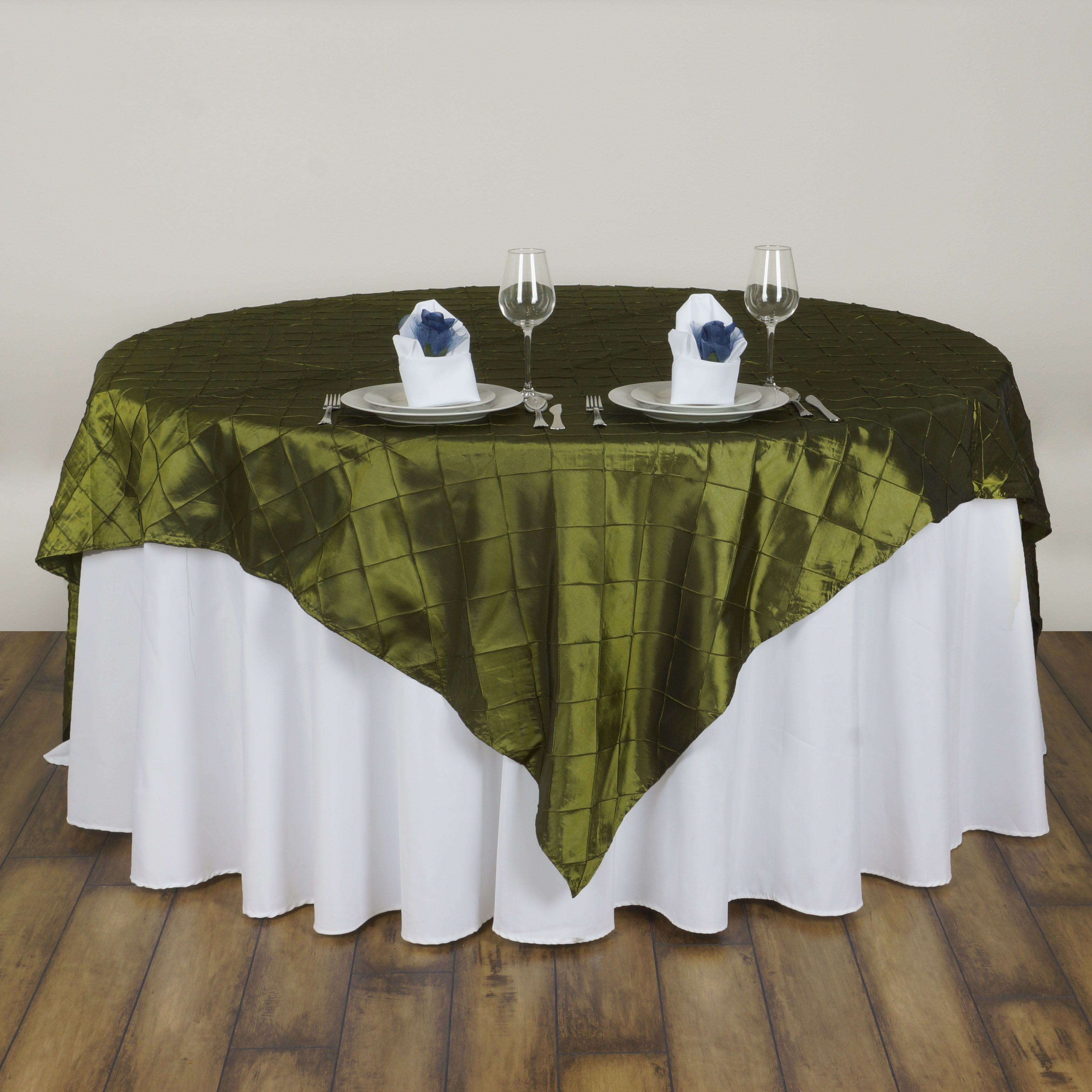 "Wedding Linen: 10 Pc 60x60"" Pintuck TABLE OVERLAY Wedding Linen Supply"