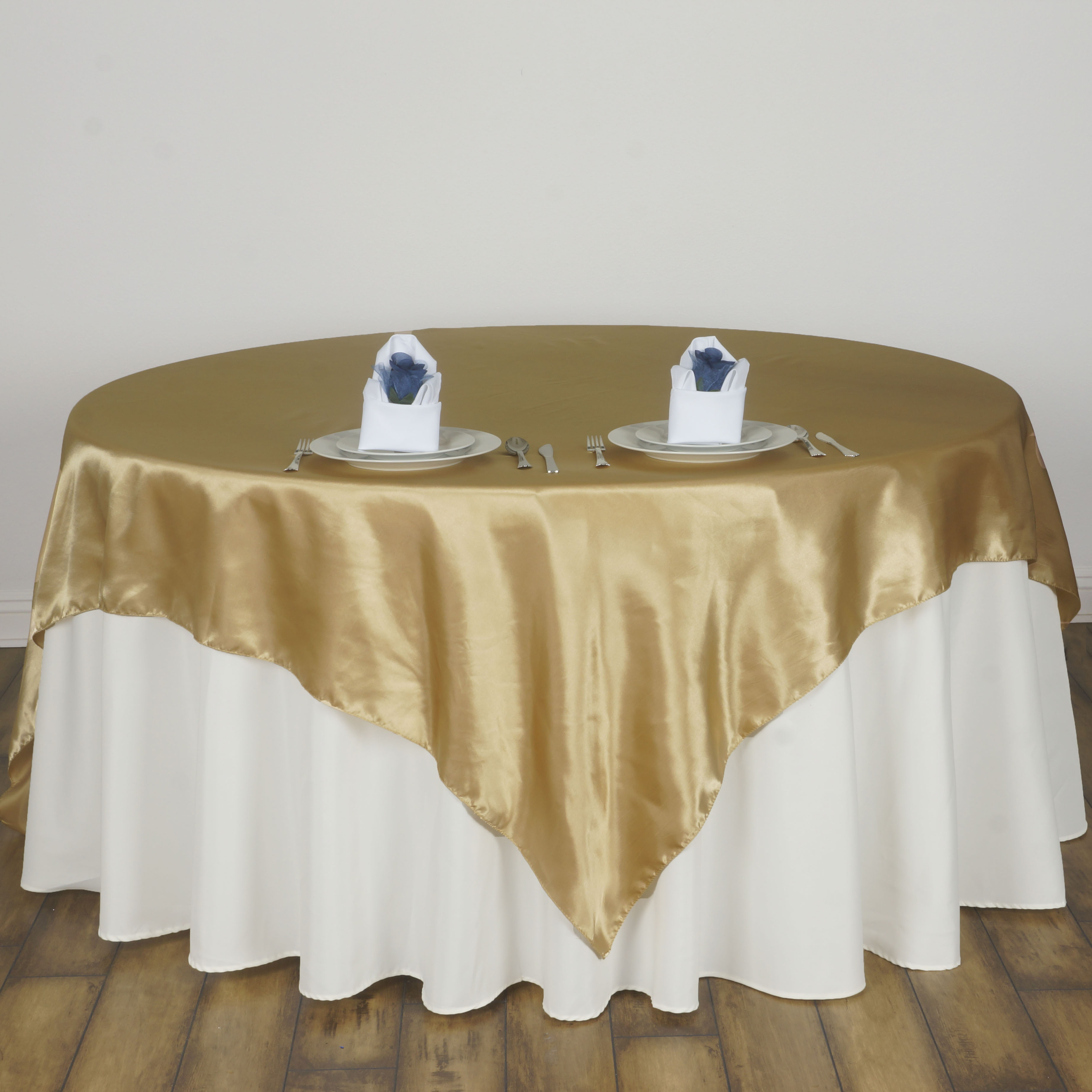 "Wedding Linen: 15 Pcs 72x72"" Square SATIN Table Overlays Wedding Linens"