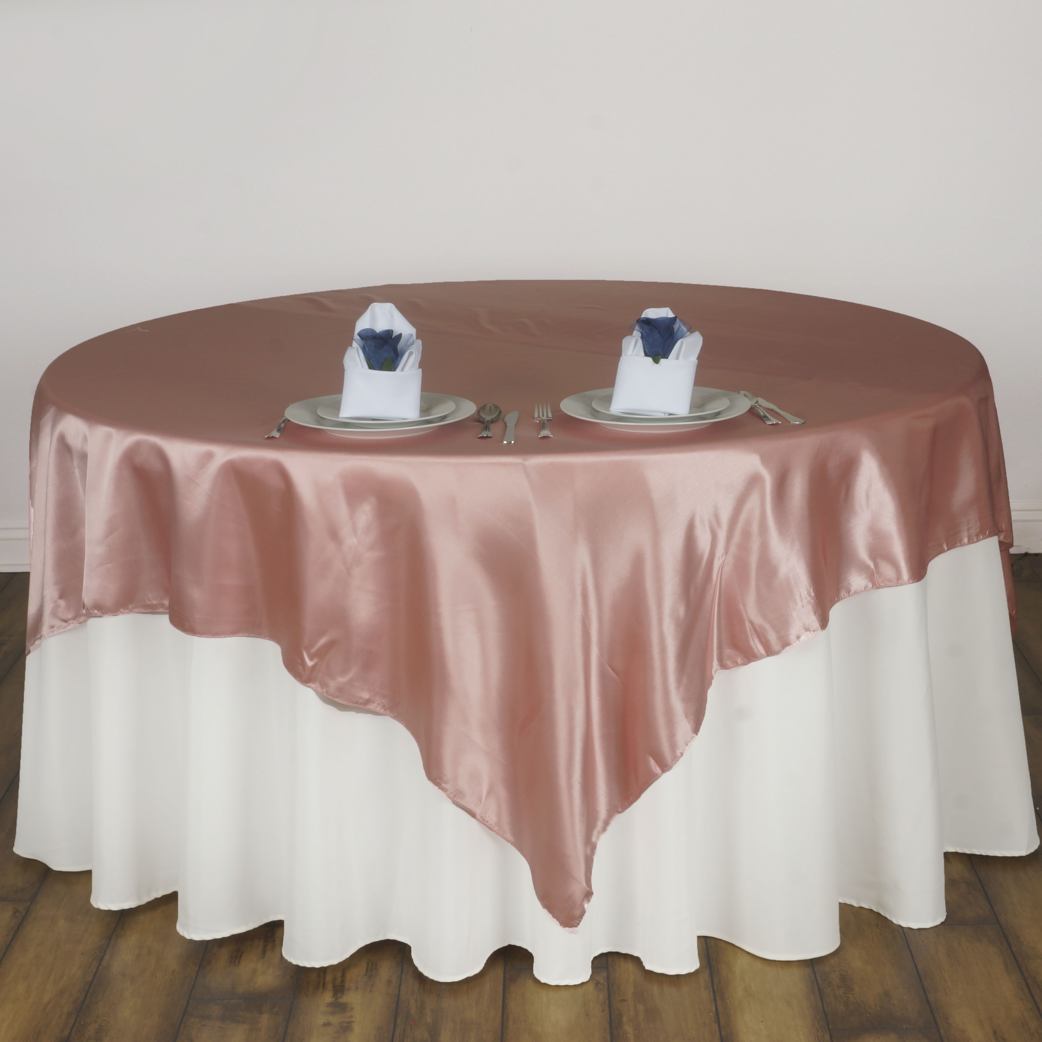 """72x72"""" Square SATIN Table Overlays Wedding Party Linens"""