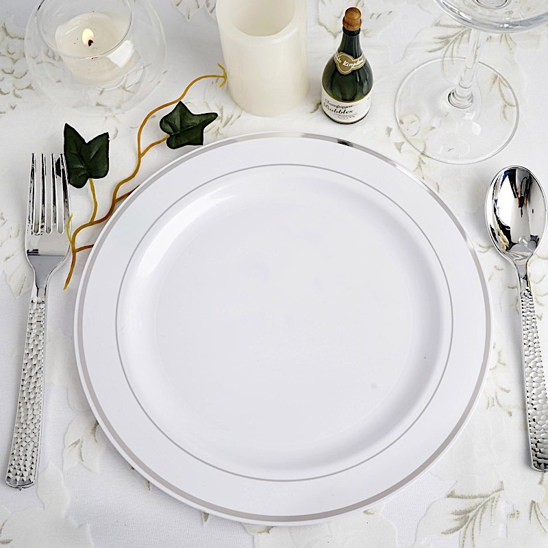 9 PLASTIC PLATES Round TRIM Party Wedding Dinner Catering Disposable TA