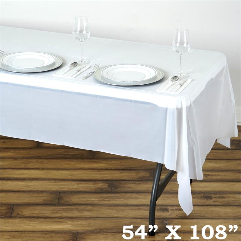 54 x 108 disposable plastic rectangular table cover for 108 inch dining table