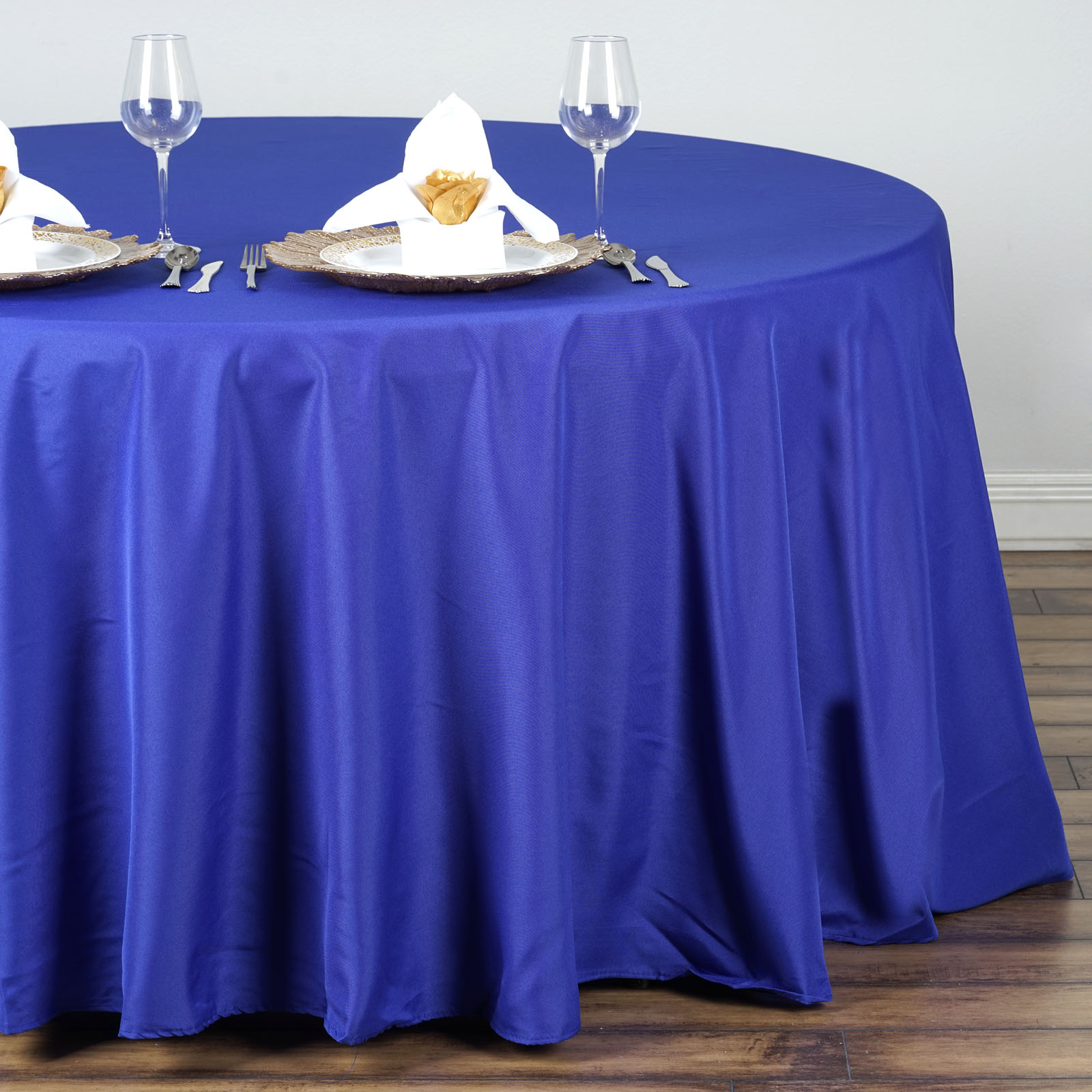 "132"" Round Polyester Tablecloths For Wedding Party Linens"