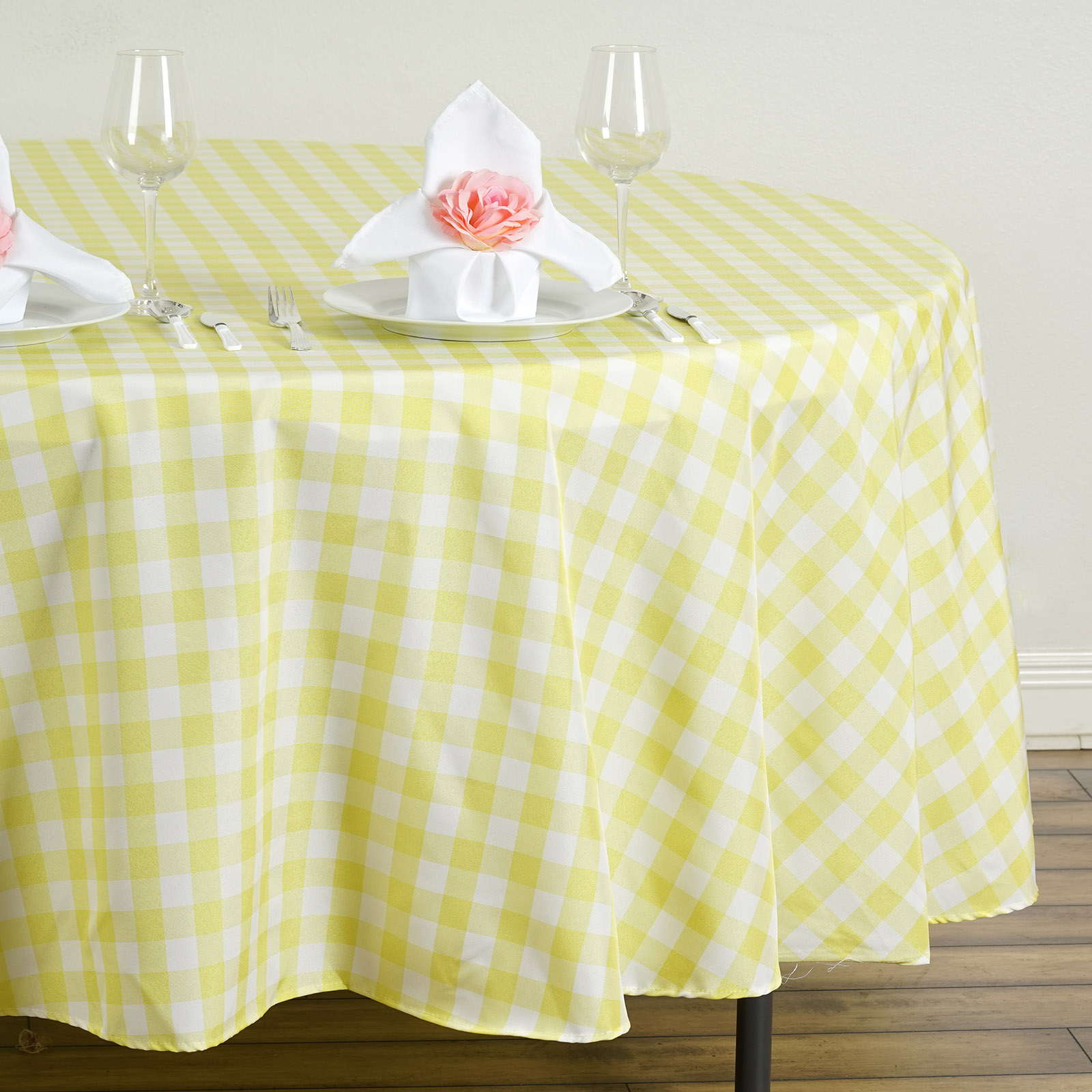 108 checkered gingham polyester round tablecloth wedding for 108 round table cloth