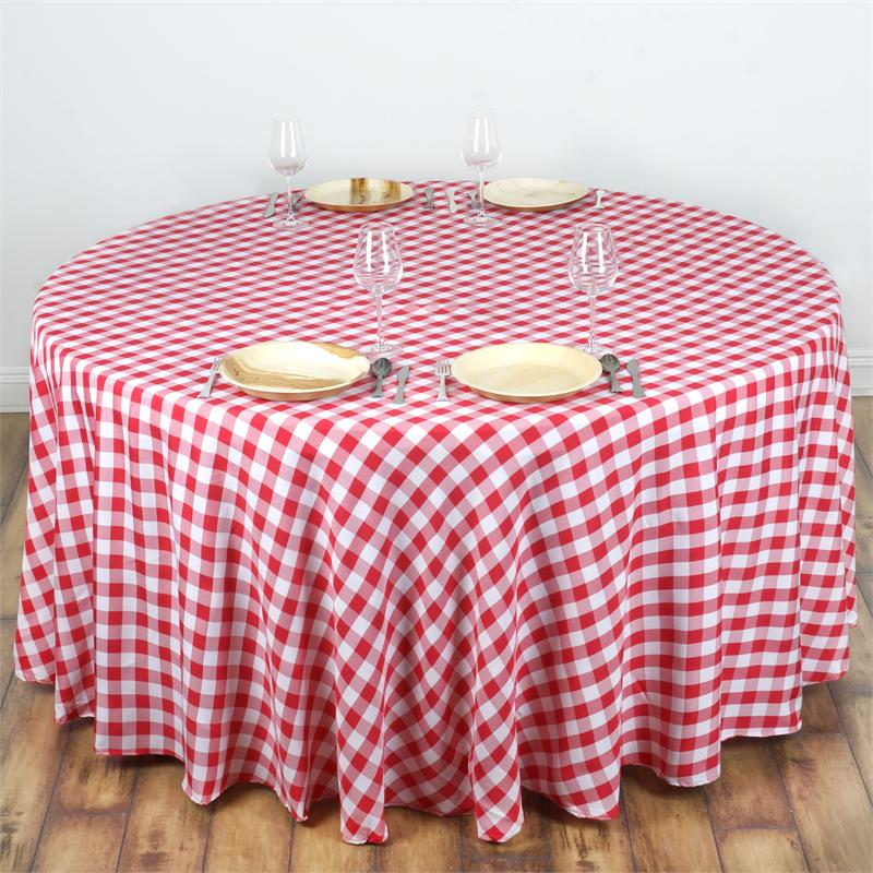 "120"" Checkered Gingham Polyester Round Tablecloth WEDDING ..."