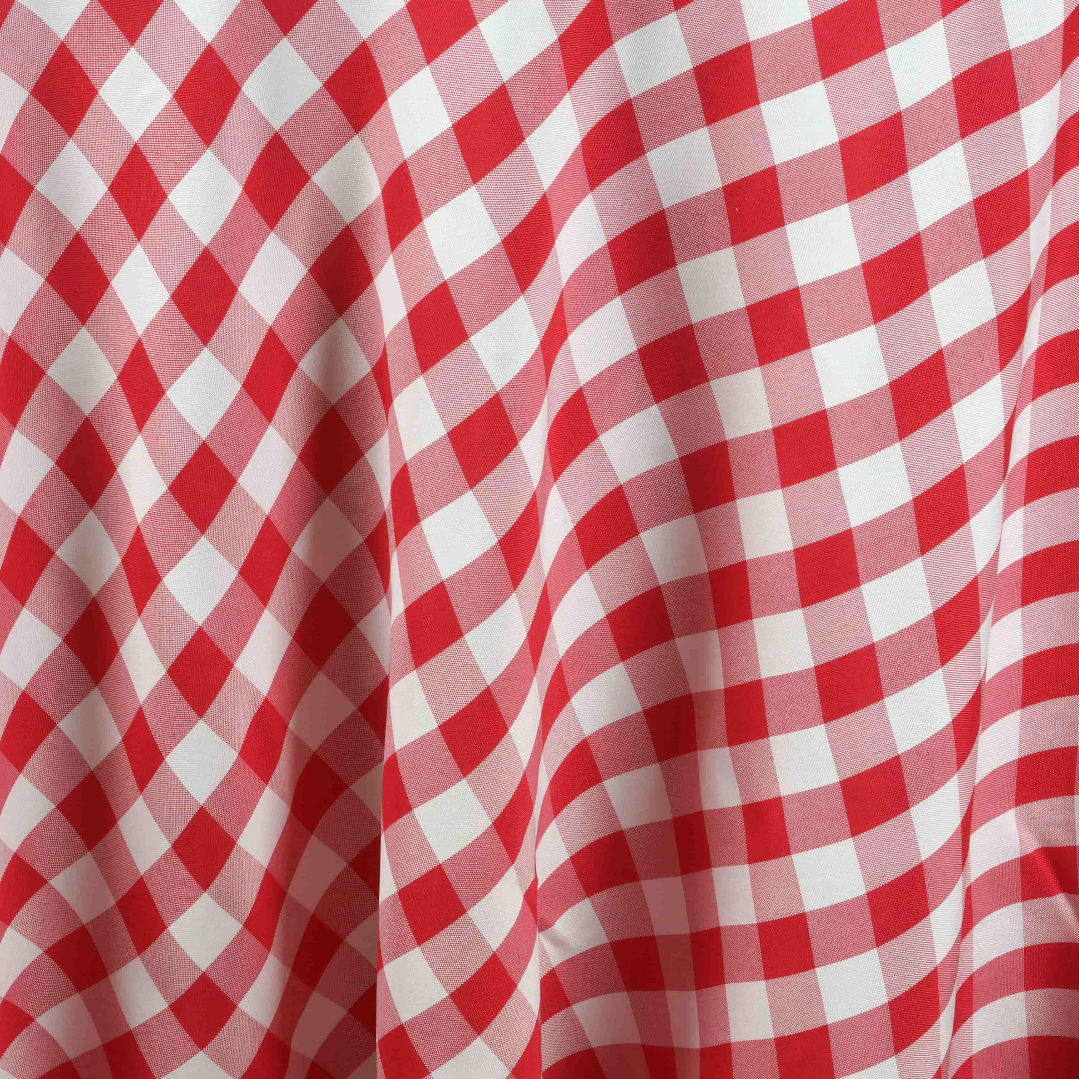 "90"" Checkered Gingham Tablecloth Polyester Round Linens ..."