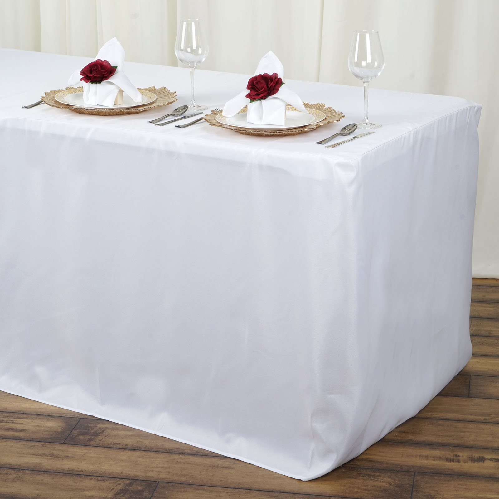 6 feet fitted polyester banquet rectangle tablecloth wedding party table linens ebay. Black Bedroom Furniture Sets. Home Design Ideas