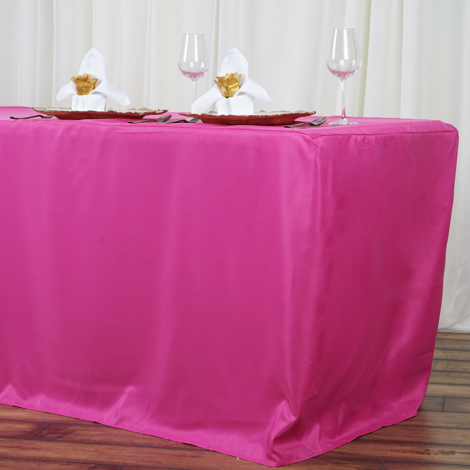 8 feet fitted polyester banquet tablecloth wedding table linens 96 long sale. Black Bedroom Furniture Sets. Home Design Ideas