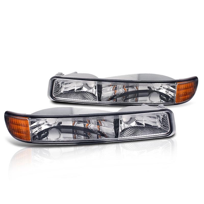 99 07 Sierra 00 06 Yukon XL Clear Bumper Parking Signal Lights Amber Reflector