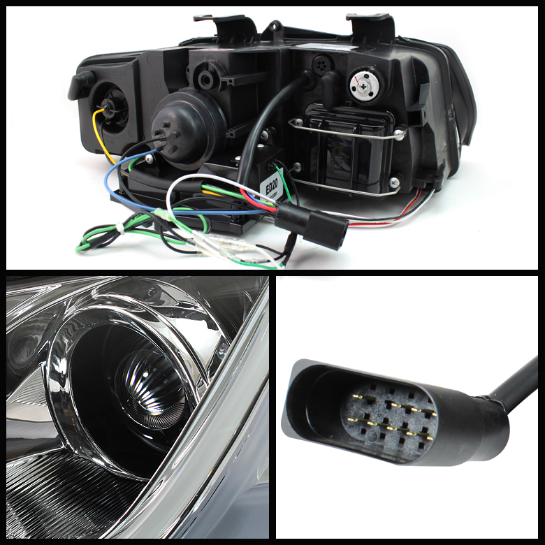 HID Xenon + 02-05 Audi A4 / S4 DRL Light-Tube LED Projector Headlights - Black