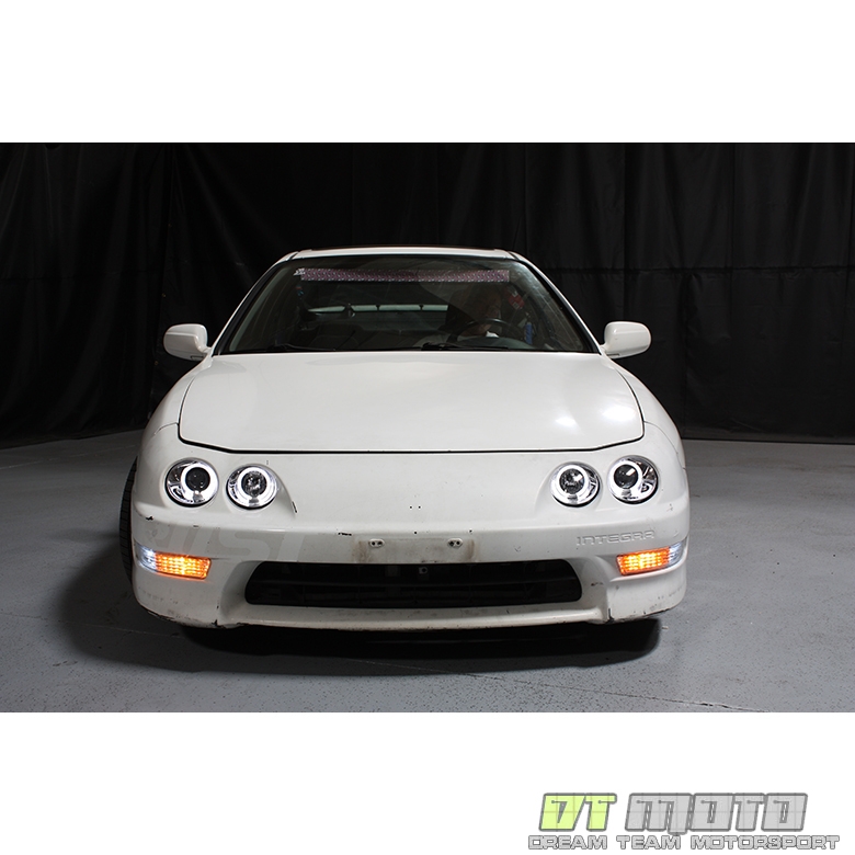 Acura Integra Headlights: 1998-2001 Acura Integra LED Halo Projector Headlights