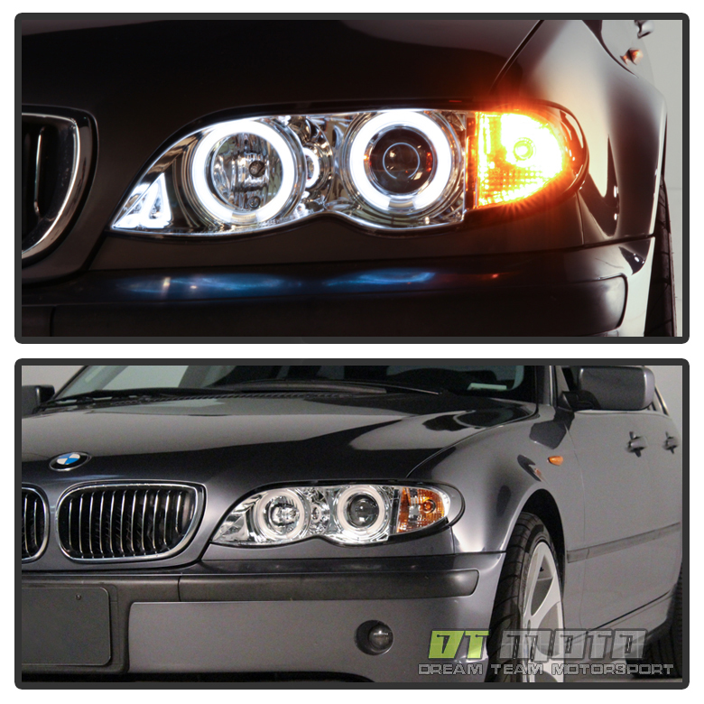 2002 2003 2004 2005 Bmw E46 4dr Sedan Halo Projector Headlights W Corner Lamps Ebay