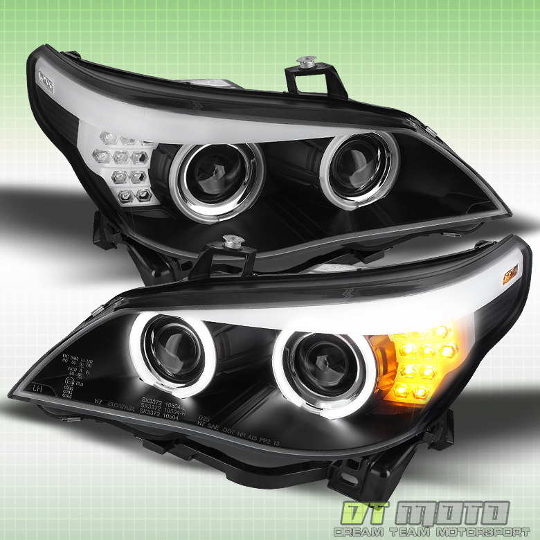 Black 2004 2007 Bmw E60 E61 Rare Amber Led Ccfl Projector Headlights Left Right Ebay