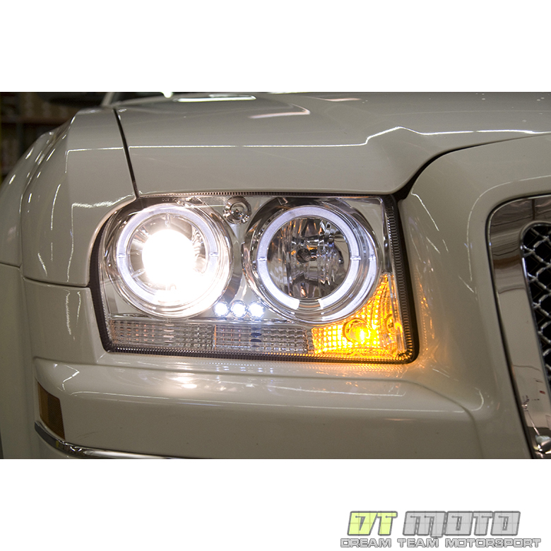 05 08 chrysler 300 dual halo projector led headlights. Black Bedroom Furniture Sets. Home Design Ideas