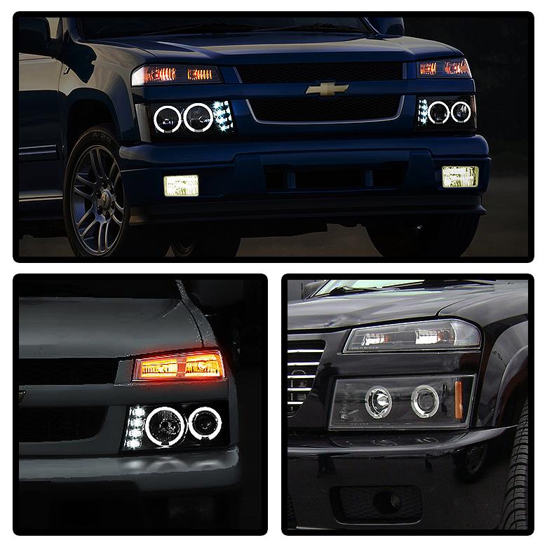 Black 2004-2012 Chevy Colorado GMC Canyon LED Dual Halo
