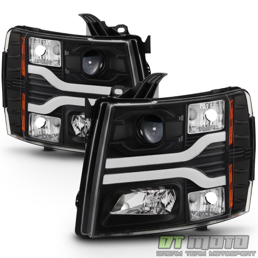 Black 2007-2013 Chevy Silverado 1500 LED DRL Tube Projector Headlights Headlamps