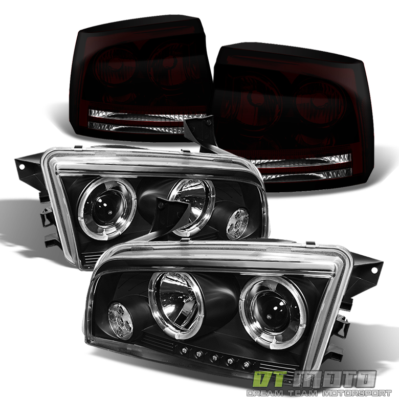2006 2008 Dodge Charger Halo Projector Headlights Black