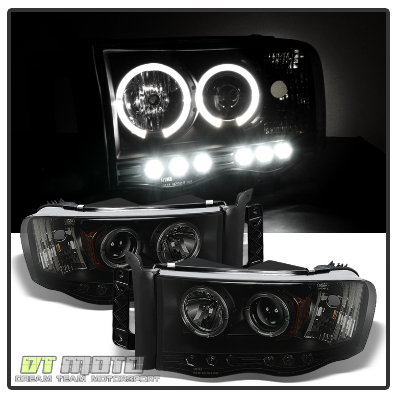 Blk Smoke 2002-2005 Dodge Ram 1500 2500 3500 LED Halo