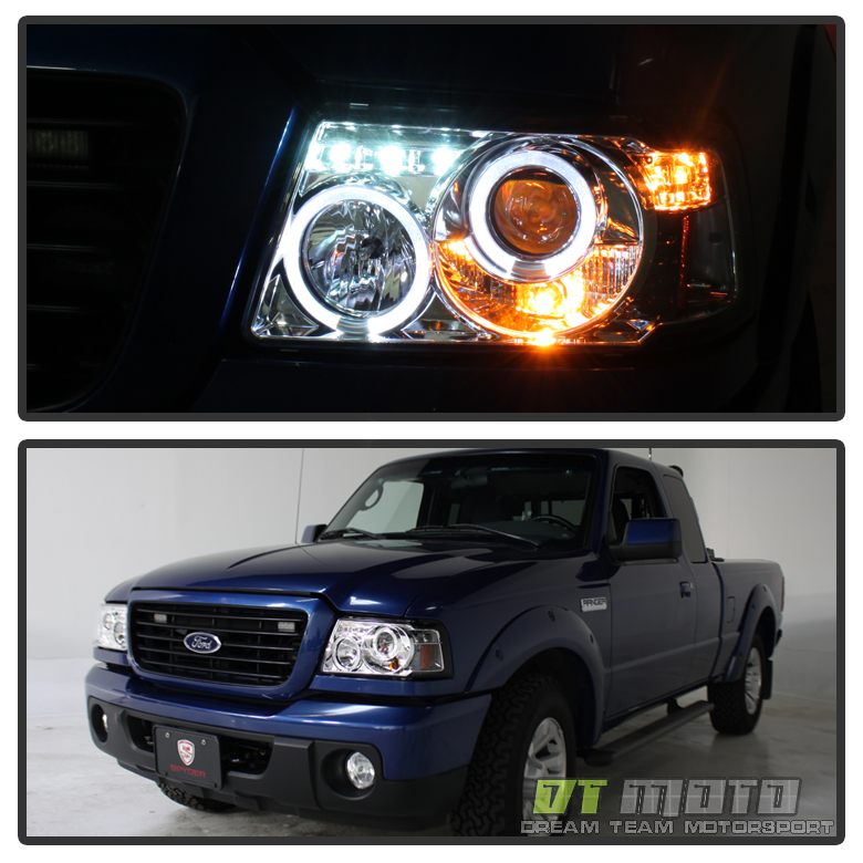 2001-2011 Ford Ranger LED Dual Halo Projector Headlights W