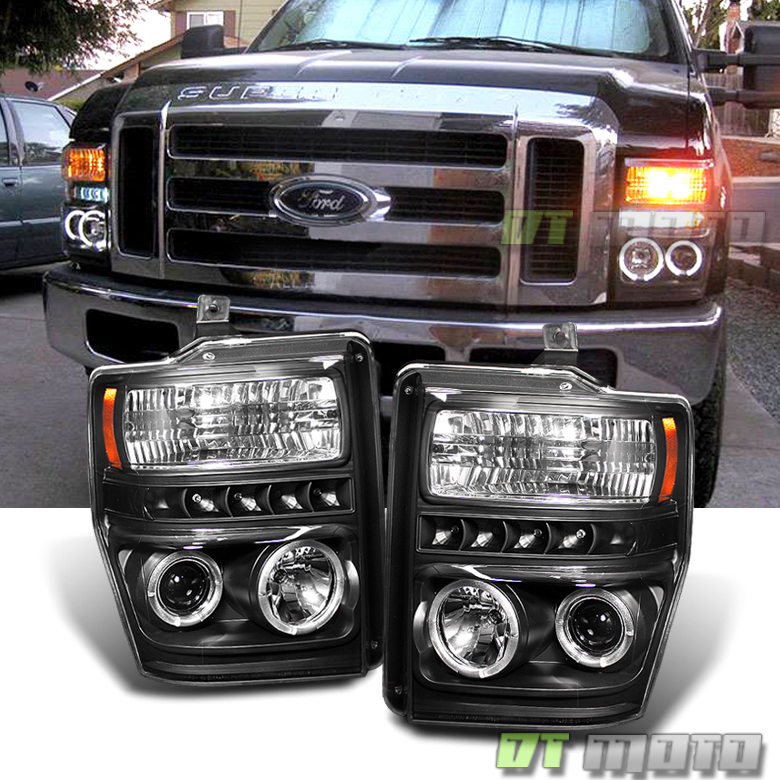 Ford F 250 Headlights : Black  ford f superduty led drl halo