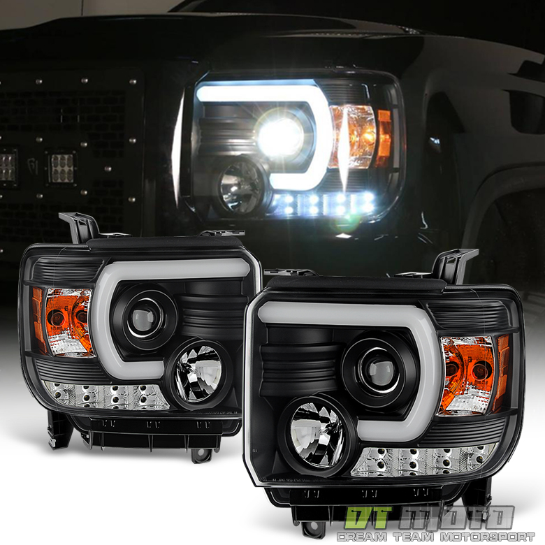 Black 2014-2015 GMC Sierra 1500 2500HD 3500HD LED DRL Tube