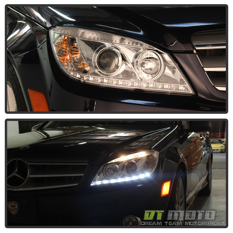 2008 2011 mercedes benz c class w204 c300 c350 c63 led drl for Mercedes benz headlight bulb