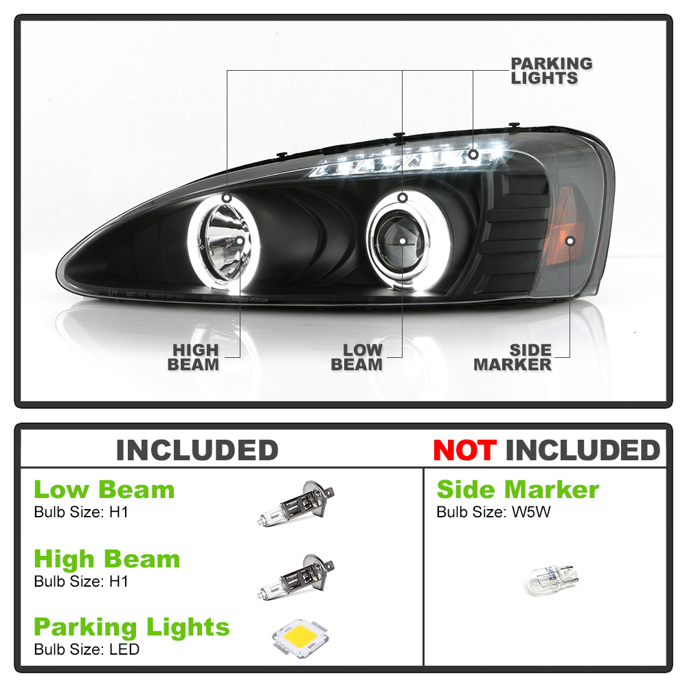 black 2004 2008 pontiac grand prix led dual halo projector headlights left right ebay. Black Bedroom Furniture Sets. Home Design Ideas