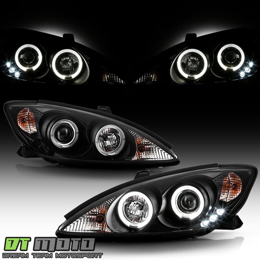 blk 2002 2006 toyota camry led halo projector headlights lamps lights left ri. Black Bedroom Furniture Sets. Home Design Ideas