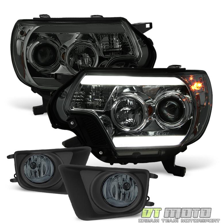 Toyota Tacoma Headlights: Smoke 2012-2015 Toyota Tacoma LED DRL Projector Headlights