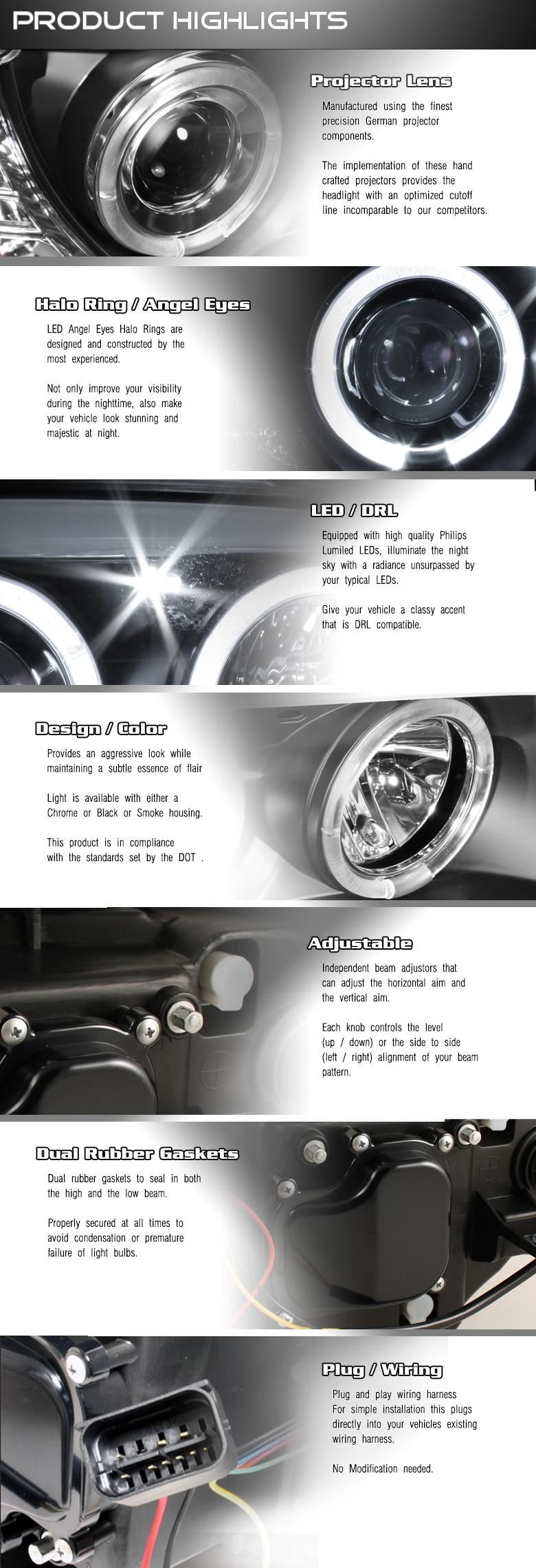 2008 2011 Bmw E87 1 Series Dual Angel Eye Halo Projector