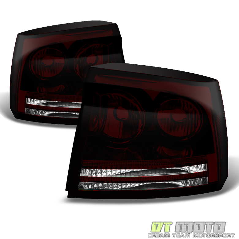 2006 2008 dodge charger smoked led halo headlights dark. Black Bedroom Furniture Sets. Home Design Ideas