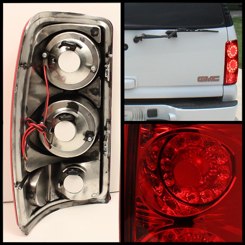 GMC YUKON XL DENALI SUBURBAN TAHOE RED DUAL LED RIMS TAIL LIGHTS LAMPS