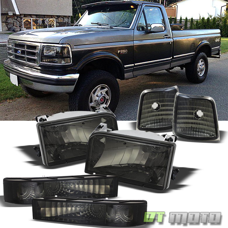 Smoked 92-96 Bronco F150 F250 F350 Headlights +Signal