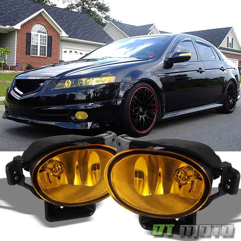 Acura Tl 08 Type S: 2007-2008 Acura TL Yellow Bumper Fog Lights Lamps Set W