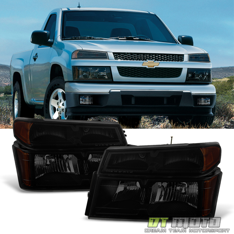 Black Smoke 2004-2012 Chevy Colorado GMC Canyon Headlights