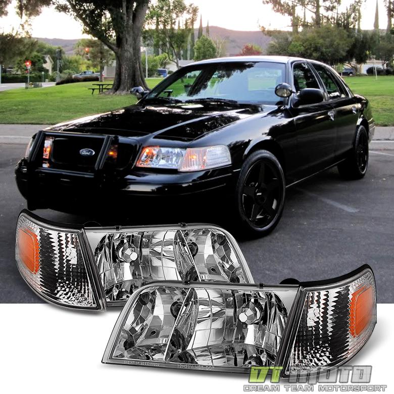 1998-2011 Ford Crown Victoria Headlights Headlamps+Corner