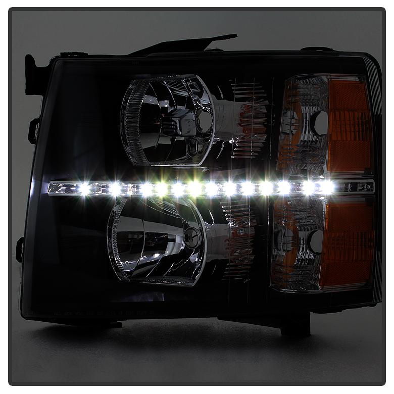 Black 2007-2013 Chevy Silverado 1500 2500HD 3500HD LED DRL