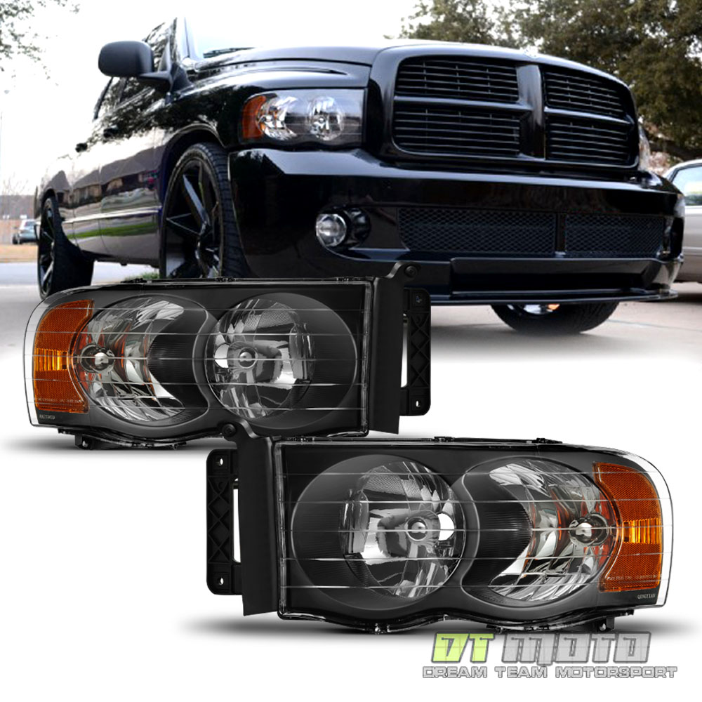 2002 2003    2004    2005    Dodge       Ram    1500 2500 3500 Black    Headlights    Headlamps Set LR   eBay