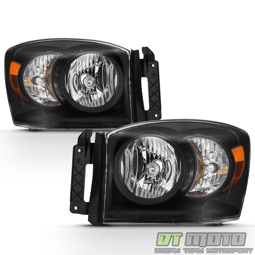 black 2007 2008 dodge ram 1500 07 09 2500 3500 headlights. Black Bedroom Furniture Sets. Home Design Ideas