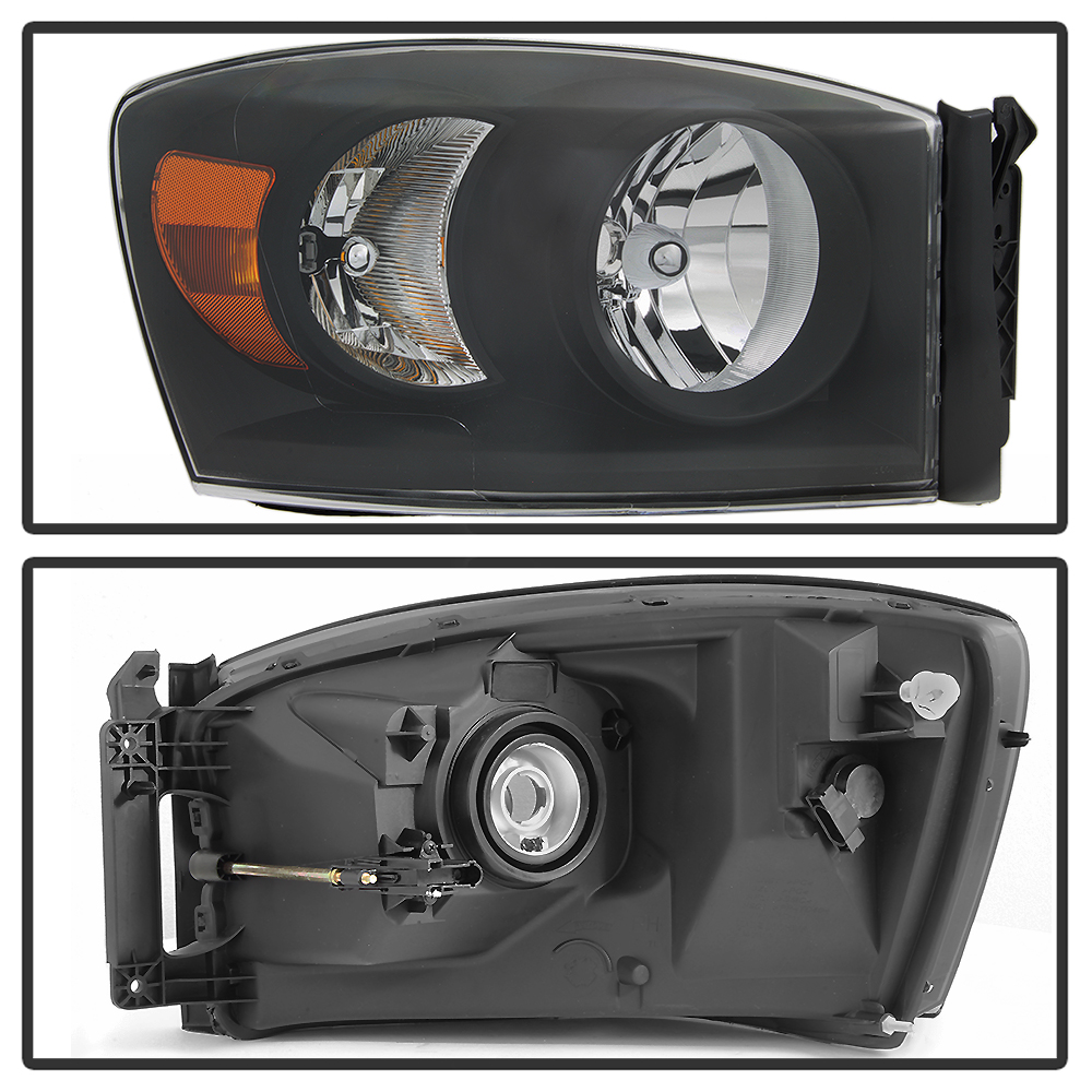 Black 2007-2008 Dodge Ram 1500 07-09 2500 3500 Headlights