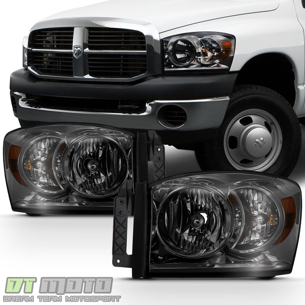 Smoked 2007-2009 Dodge Ram 1500 2500 Headlights Headlamps