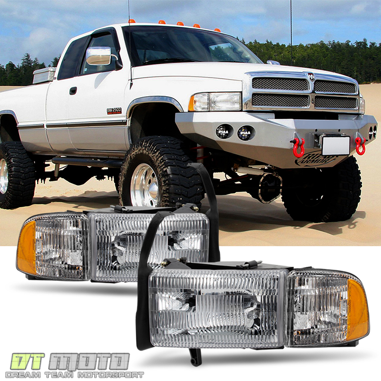1994-2001 Dodge Ram 1500 2500 3500 Truck Headlights+Signal