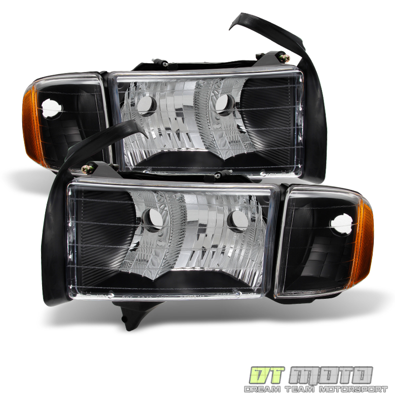 Black 1999-2002 Dodge Ram Sport Model Headlights Headlamps