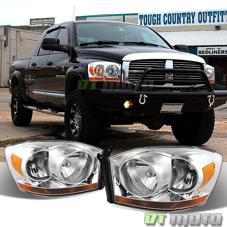 2006-2008 Dodge Ram 1500/2500/3500 Chrome Bezel Headlights