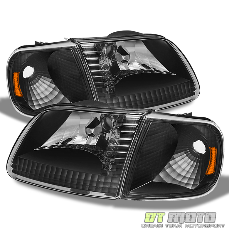 1997-2003 Ford F150 Expedition Black Headlights+Corner