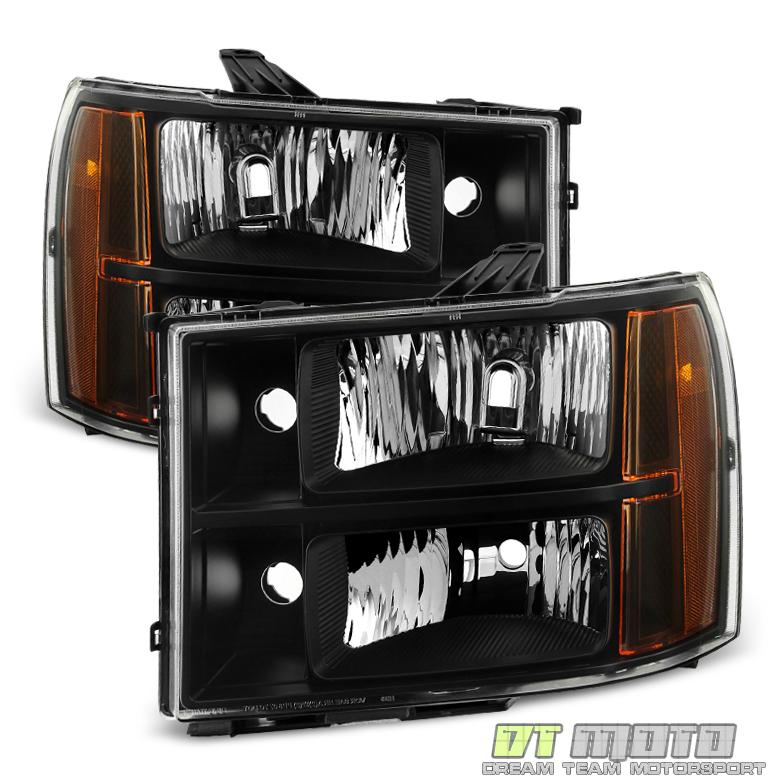 Black 2007-2013 GMC Sierra 1500 2500 Headlights Headlamp